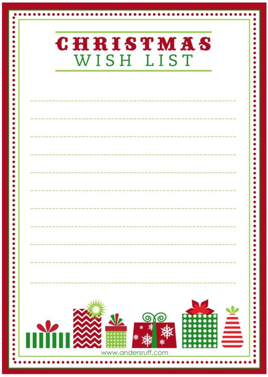 write a wishlist to santa